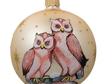"""4"""" Two Owls Bird Glass Ball Christmas Ornament- SKU # K-567-100"""