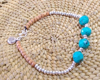 Genuine natural turquoise faceted beads, Hill tribe silver, sandalwood bracelet