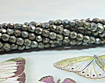Iris Brown Matte, (3mm or 4mm) Czech Fire Polished Glass Beads, 1 Full Strand (50 Pcs), Round, Faceted, DIY Jewelry, Bead Supply