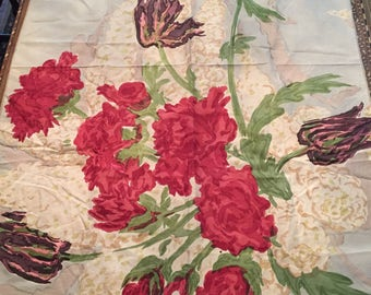 """1960's English """"Bloomsbury"""" Glazed Cotton Chintz Floral Fabric Panel. Crafts, Sewing"""