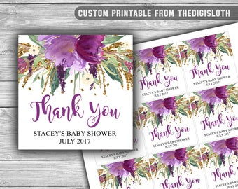 Custom - Baby Shower - Thank You Tags - Printable - Purple and Gold - Baby Shower Tags - Floral - Purple - Gold - Personalized - 086