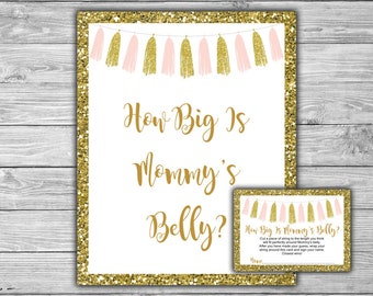 Pink and Gold - Baby Shower - How Big Is Mommy's Belly - Game - Cards - Sign -Printable - Instant Download - Pink - Gold - Tassels - 094