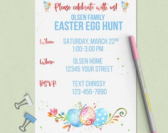 Easter Party Invitation; Custom Easter Invitation