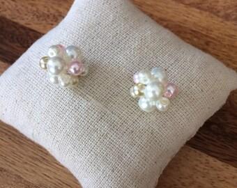 Pearl earrings, pink bridesmaids, ivory pearl, ivory pearl earrings, pink earrings, champagne earrings, bridesmaids earrings, knotted pearls