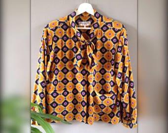 Yves Saint Laurent Rive Gauche Paris blouse silk collar Lavaliere vintage years 80 mustard yellow patterned 38-40