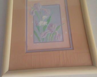 Mid century modern hand raised paper art 8x10