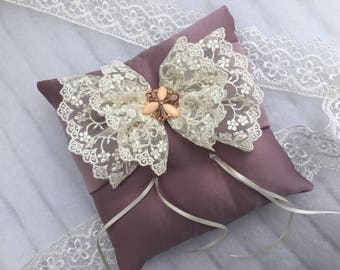 Wedding Ring Cushion-Pillow Pillow Pillow Lace-Wedding Rings-Pins-Purple Wedding Cushion-Handmade Pillow-Lace Pillow