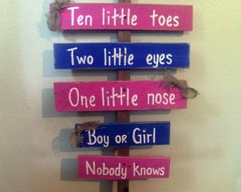 Boy or Girl Gender Reveal - Baby Shower Decorations - Ten Little Fingers - Baby Shower - Ten Little Fingers, Ten Little Toes Sign