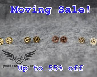 Geared Stud, Steampunk Earrings