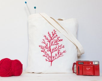 Hand embroidered Coral Bag