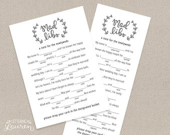 Wedding Mad Libs, Modern Script and Ivy, Wedding Template, DIY, Printable Advice Card, Instant Download, 5x7, 3.6x9