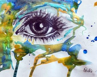 Abstract art, Eye Painting, Abstract painting, Art Print, Modern artwork, Contemporary art, Abstract wall art, Home decor, Wall hanging.