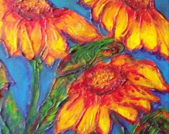 Sunflower Mixed Media Texture Acrylic on Canvas Painting