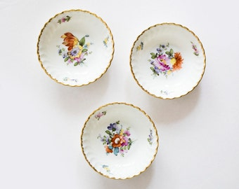 Nymphenburg Floral Bowls, Miniature Handpainted Bowl, 3 Nymphenburg Porcelain Bowls, Round Jewelry Dish, Floral Porcelain trinket dish