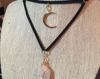 Iridescent crystal and moon necklace