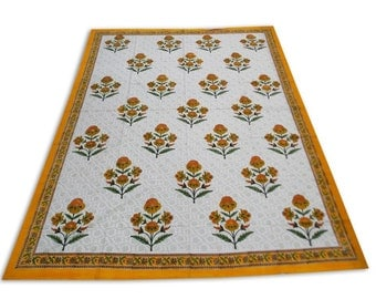 Indian Hand Block Printed Floral Design Cotton Double Bed sheet in Yellow Color size 90x108""