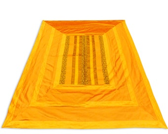 Indian Silk Brocade Patch Work Yellow Color Double Bed Cover 260x240 CM