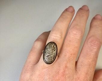 Antique Austrian Art Deco sterling silver, black enamel & marcasite ring, OOAK, Gift, Keepsake, Heirloom, Jewelry, Jewellery, Rock Chick