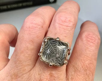 Vintage unique sterling silver & reverse carved rock crystal spider web ring, Statement, OOAK, Jewelry, Jewellery, Halloween, Gothic, Boho