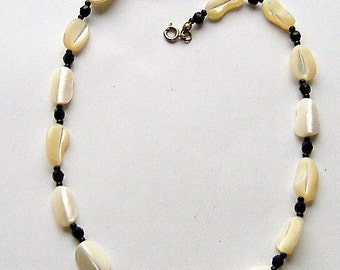 MOTHER OF PEARL and black glass bead necklace