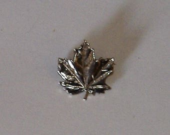 TINY silver maple leaf brooch