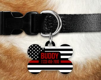 Thin Red Line Dog ID Tag - Dog Collar Tag, Pet ID Tag, Firefighter Dog ID Tag