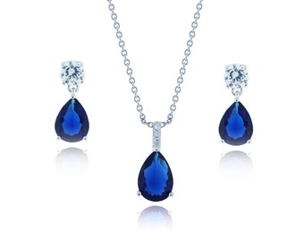 Pear Cut Sapphire Pendant Necklace (Comes with a Dangle Earring) (B155)