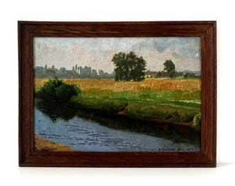 Antique German Country Landscape Painting - Original Oil Painting - Signed & Dated 1904 - Antique Oak Frame - Landscape Painting