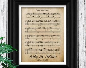 YOUR WEDDING SONG | Sheet Music on Velvet Paper | 15th Anniversary Gift | Unique Gifts for Men | 15 Year Anniversary | Husband Anniversary