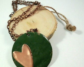 Enameled copper necklace with heart