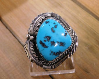 Vibrant Turquoise Sterling Silver Ring Size 9.25
