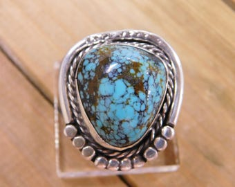 Large Turquoise Sterling Silver Ring Size 7