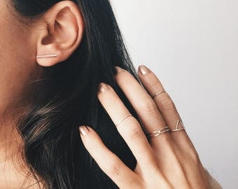 Minimal 15mm cylinder bar ear studs, Bar ear studs, cylinder bar earrings, Minimal ear studs, Sterling silver studs, Minimal Bar (ES342)