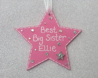 Best Big Sister Wooden Star Gift