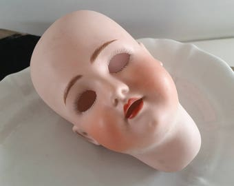 vintage old doll head, biscuit porcelain, Simon & Halbig, China head doll,