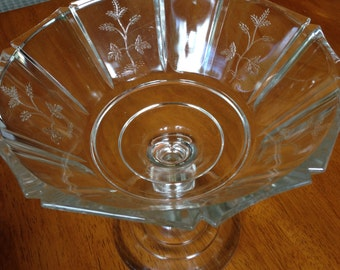 Victorian Pattern Glass EAPG Compote Barley aka Sprig pattern 1870