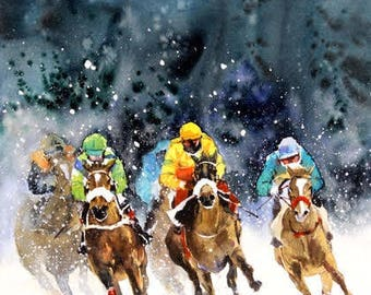 """Original Landscape, Suggestive Abstract Watercolor Painting, Size 26"""" x 16"""", Title: Race 5"""