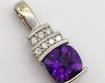 1.5 Carat Dark Purple Checkerboard Cut Amethyst & Diamond Pendant in 10K White Gold Pendant