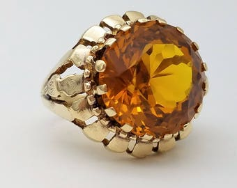 Vintage 8.25 Carat Round Cut Citrine & 14K Gold Solitaire Ring - Size 6, Resizable
