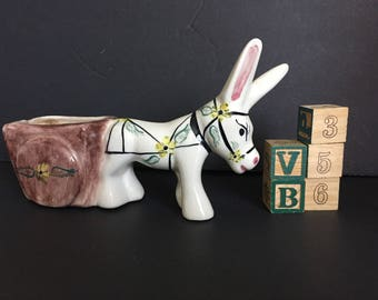 Italian Hand-Painted Ceramic Donkey with Wagon Planter