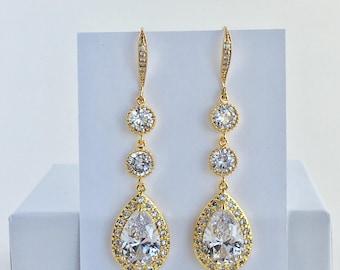 Gold Long Crystal Earrings Gold Long Bridal Earrings Gold Long Teardrop Earrings Gold Long Wedding Earrings Gold Long Bridesmaid Jewelry