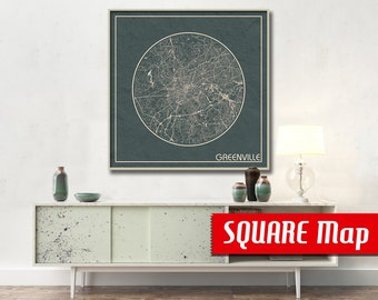 GREENVILLE SC SQUARE Map Greenville South Carolina Poster City Art Print