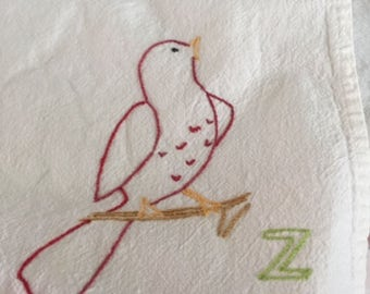 Vintage flour-sack towel with embroidered bird, free shipping!