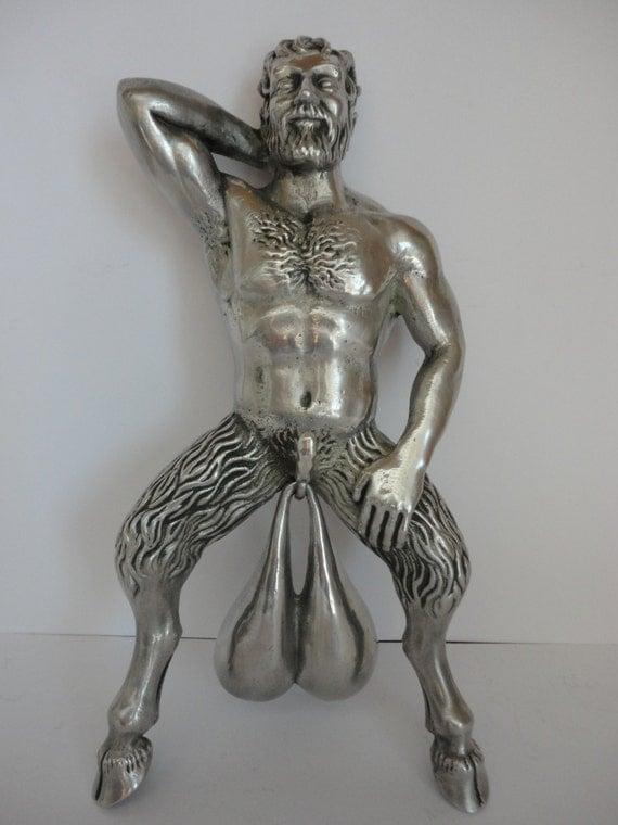Bronze Door Knocker Phallus Figure Doorbell Cast Bells Satyr