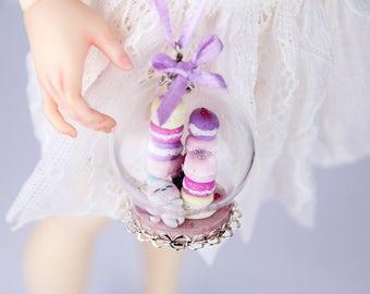 "OOAK glass bags ""Macaroon Kitty"" for bjd dolls (SD 1/3, MSD 1/4)"