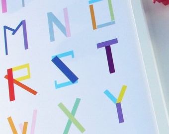 Colorful ABC poster for your kids room. Home decor. Poster till barnrummet.