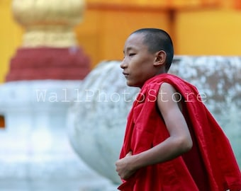 Young Buddhist Monk, Travel Photography, Myanmar Photography, People Photography, Fine Art Photography, Print Photography, Vertical Wall Art