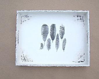 made to order, shabby chic tray, wooden tray, decoupage tray, breakfast tray, rustic tray, serving tray, white tray, aged tray