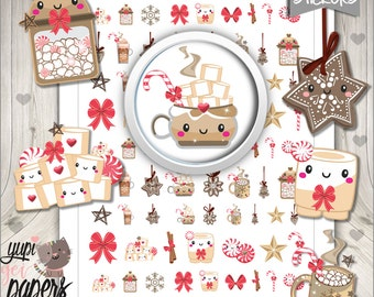 Hot Chocolate, Hot Cocoa, Chocolate Stickers, Kawaii Clipart, Christmas Stickers, Planner Accessories, Christmas Cookie, Mug, Marshmallow