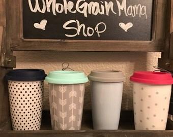 Custom Ceramic Travel Mug - 3 Color Options